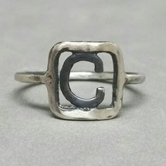 Rustic Beauty. New Customized Initial Ring Handmade from Fine Silver for Chris or Cameron or Charles or Craig ....