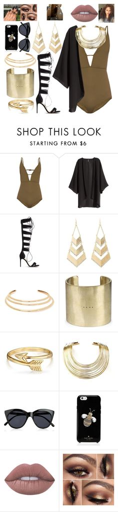 """""""my heart is gold."""" by rostovskaya-regina on Polyvore featuring мода, Zimmermann, H&M, Alexandre Birman, Charlotte Russe, Kenneth Jay Lane, Parts of Four, Bling Jewelry, Bisjoux и Le Specs"""