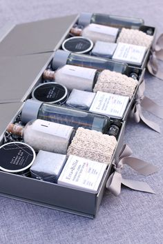 Relaxing Welcome Gifts for your guests by Pumeli. Pre-designed and custom gift box design at pumeli.com| Corporate Events & Retreats | #pumeli #corporateevents #gifts #eventdesign #clientgifts