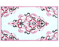 Andrews White, Pink, Blck Cotton Flannel Rug