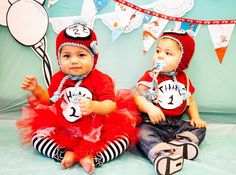 Thing 1 and Thing 2 Twin Birthday Party {Ideas, Supplies, Decor} Twin Birthday Parties, Twin First Birthday, Birthday Party Themes, Birthday Ideas, Thing 1 Thing 2 Party, Dr Seuss Party Ideas, 2nd Birthday Invitations, Twins 1st Birthdays, Dr Suess