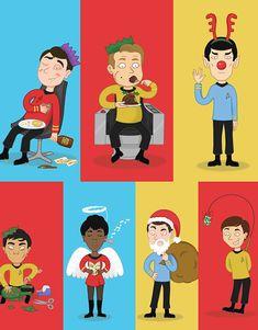 Star Trek Christmas Cards  Original Series  Geeky  Sci fi