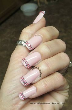 pale pink with bling french tip - http://www.polishsicknes... | See more at http://www.nailsss.com/...  | See more nail designs at http://www.nailsss.com/acrylic-nails-ideas/2/