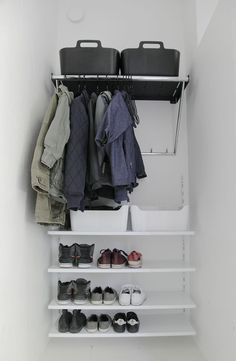 Actually an old entry closet which we renovated few years ago. We just took the door away and tiny piece from the wall. Bed In Closet, Wardrobe Closet, Closet Space, Walk In Closet, Shoe Shelves, Shelving, Entry Hallway, Closet Storage, Life Organization