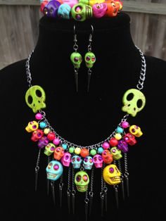 Skull Statement Necklace Day of the Dead One by DesignsbyStalinda, $71.00