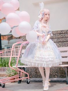 Luna Planetarium -The Dream of The Doll- Water Blue OP Dress + Accessories Full Set,Lolita Dresses, Fashion Themes, Quirky Fashion, Cute Fashion, Girl Fashion, Harajuku Fashion, Kawaii Fashion, Lolita Fashion, Lolita Goth, Lolita Dress