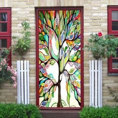 Colorful Tree Pattern Door Stickers - COLORMIX 38.5*200CM*2PCS Stickers, Condo Decorating, Color, Door Stickers, Wall Decor Stickers, Tree Patterns, Colorful Trees, Wall Stickers, Doors