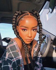 Black Girl Braided Hairstyles, Black Girl Braids, Braids For Black Hair, Girls Braids, Braids On Natural Hair, Side Braids, Curly Hair Styles, Natural Hair Styles, Braid Hair Styles