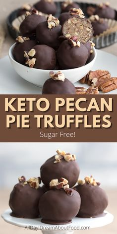 Little bites of pecan pie heaven! These sugar free truffles are easy to make and have all the flavors of your favorite holiday pie. Low Carb Candy, Low Carb Sweets, Low Carb Desserts, Low Carb Recipes, Holiday Pies, Keto Holiday, Holiday Crafts, Holiday Recipes, Sugar Free Treats