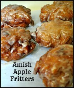 Amish Apple Fritters / The Grateful Girl Cooks! Amish Apple Fritters are delicious crunchy fried doughnuts made easily from scratch with a simple batter containing fresh apple chunks and cinnamon, and covered with a sweet glaze. Amish Apple Fritter Recipe, Apple Fritter Cake, Baked Apple Fritters, Amish Donuts Recipe, Easy Apple Fritters Recipe, Apple Fritter Doughnut Recipe, Blueberry Fritters Recipe, Donut Recipes, Cooking Recipes