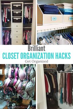Brilliant Closet Organization Hacks to tidy up your closet. These tips and tricks are simple but effective and great if you are on a budget or small closet. How To Organize Your Closet, Declutter Your Home, Maximize Closet Space, Closet Organisation, Home Organization, Clothing Organization, Closet Storage, Master Closet, Closet Bedroom