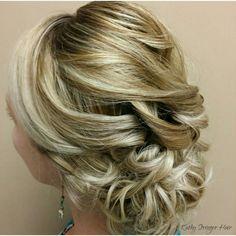My beautiful May bride. A soft roll of curls.  Instagram: kathy_stringer_hair #weddinghair #updo