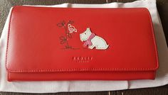 Radley Radley and Robin Red Leather Matinee Purse Wallet Large New