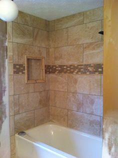 X Porcelain Tile With X Listellodeco Floral Vines Shower - Bathroom remodel brandon fl