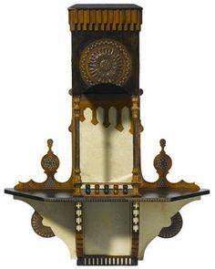CARLO BUGATTI hanging shelf, c. 1900, ebonized walnut, copper and pewter inlay, vellum, 30-3/4 in H.  |  SOLD $5,250 Bonhams Los Angeles, April 16, 2014