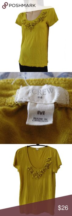 J. Crew softest embellished flower prewashed tee NWOT in muster yellow, softest fine cotton, great J Crew quality and good taste J. Crew Tops Tees - Short Sleeve