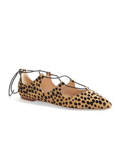 Cheetah Lace-Up Flats #leopard