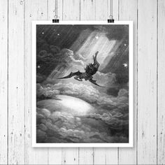 Poster Print - Lucifer - Falling From Paradise - Gustave Dore Art - Instant Art - Digital Download