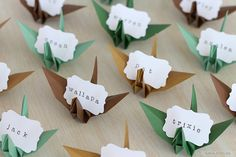 Origami Crane Name Place Cards Paper Favors in Golden Green Woodland by NANAZOOLAN  #wedding #forest