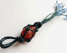 Bohemian charm tassel - Jute and gemstone handmade gypsy boho charm / Zipper pull / Bag charm / Dreamcatcher style long tassel(One count)