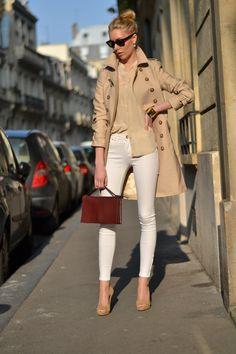 Trench coat, white jeans, Céline, Silk blouse, Jimmy Choo