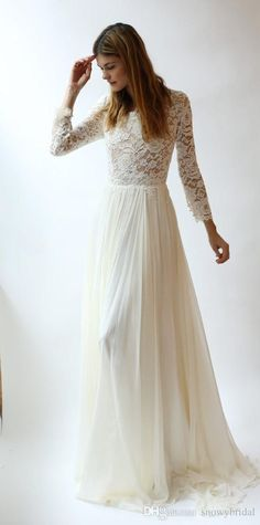Wholesale wedding dress brand, wedding dresses affordable and wedding dresses vintage lace on DHgate.com are fashion and cheap. The well-made long sleeves lace modest wedding dresses with long lace sleeves bohemian elegant a-line floor length boho bridal