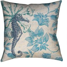 Laural Home Florals and Seahorse Decorative 18 Inch Throw Pillow ($47) ❤ liked on Polyvore featuring home, home decor, throw pillows, blue, polyester throw pillows, floral throw pillows, blue toss pillows, sea home decor and square throw pillows