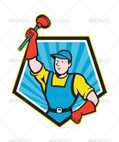 Plumber Wielding Plunger Pentagon Cartoon  #GraphicRiver         Illustration of a super plumber wielding holding plunger done in cartoon style set inside pentagon shape on isolated background. Editable EPS8 (you can use any vector program), JPEG and Transparent PNG (can edit in any graphic editor) files are included.     Created: 30July13 GraphicsFilesIncluded: TransparentPNG #JPGImage #VectorEPS Layered: Yes MinimumAdobeCSVersion: CS Tags: artwork #cartoon #handyman #holding #illustration…