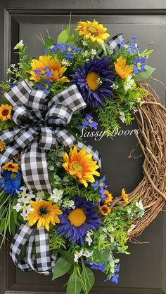Sunflower Wreaths, Sunflower Decorations, Floral Wreaths, Fall Wreaths, Thanksgiving Wreaths, Christmas Wreaths, Outdoor Wreaths, White Wreath, Wreaths For Front Door