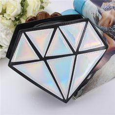 Women 3D Diamond Chain Small Bags Girls Cute Candy Color Triangle Shoulder Bags Crossbody Bags