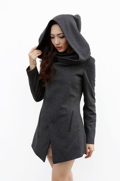 Navy Blue Hooded Wool Coat / Women Wool Jacket with an Oversized ...