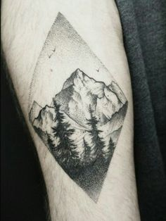 ... And White Mountains With Pine Trees In Diamond Shape Tattoo On Forearm