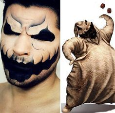 I like the idea of the makeup for my character, but as I am doing the same look in the hair, the makeup would be too much. Cool Halloween Makeup, Scary Makeup, 31 Days Of Halloween, Halloween Looks, Halloween Kostüm, Halloween Costumes, Cosplay Costumes, Oogie Boogie Costume, Oogie Boogie Man