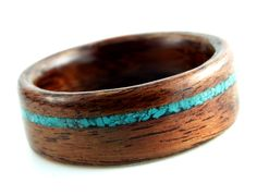 Wood rings (and I love turquoise) I want this as my wedding ring!!!!