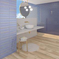 Hanami | Takada Turquesa Oro | Architonic Kohler Bathroom, Big Bathrooms, Bathroom Photos, Bathroom Layout Plans, Small Bathroom Layout, Peel And Stick Wood, Under Sink Storage, Small Tiles, Tiles Texture
