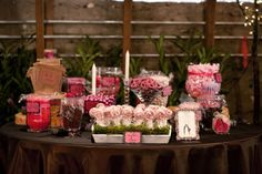 Candy Buffet :  wedding amy leigh photography black fox farms brown candy buffett chattanooga cleveland pink reception tn Jessicamichael032