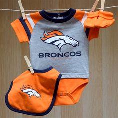 Broncos Baby Field Goal Onesie Bib Booties