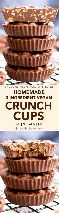 3 Ingredient Homemade Crunch Cups (V, GF): an easy, one bowl recipe for indulgently rich chocolate cups packed with crisp rice cereal. Dessert Sans Gluten, Bon Dessert, Gluten Free Desserts, Dairy Free Recipes, Vegan Desserts, Vegan Gluten Free, Delicious Desserts, Vegan Recipes, Cooking Recipes