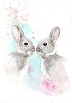 Two #Bunnies in #watercolor