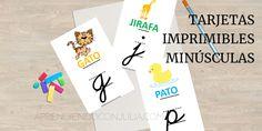 Fichas/tarjetas imprimibles del abecedario: Minúsculas con dibujos - Aprendiendo con Julia