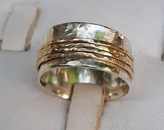 Silver and Gold Jewelry Designer by TalyaHarelDesign Gold Jewellery Design, Gold Jewelry, Unique Jewelry, Spinner Rings, Delicate Rings, Hammered Silver, Mixed Metals, Summer Sale, Wedding Ring Bands