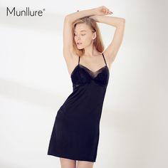 3813bb779e07c 55% СКИДКА Munllure 2019 новый сплошной шелк кружево Цветочный пикантные  пижамы Femme Мода выдалбливают V образным вырезом ночная рубашка купить на  ...