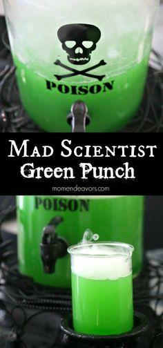 It's a delicious drink elixir — the perfect potion for a spooktacular Halloween bash or Mad Scientist Birthday Party! Non-alcoholic and cocktail recipes both included. Mad Scientist Halloween, Mad Scientist Party, Halloween Party Drinks, Halloween Punch Alcohol, Alcohol Punch, Halloween 2020, Spooky Halloween, Halloween Treats, Halloween Costumes