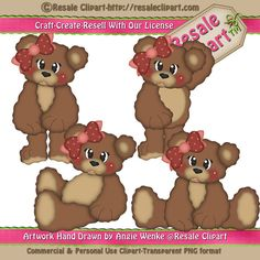 LiL Brown Bear Girl Clipart Digital Download by MaddieZee on Etsy, $1.50