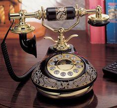Porcelain Black Floral French Telephone