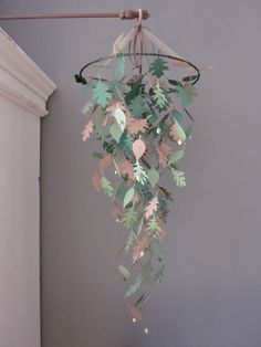 Nature inspired paper leaves mobile in green shades and light brown --- Wedding decoration, natural themed nursery or on a boys room. €39,95, via Etsy.