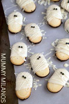 "Easy Mummy Milanos <a class=""pintag"" href=""/explore/halloween/"" title=""#halloween explore Pinterest"">#halloween</a>"