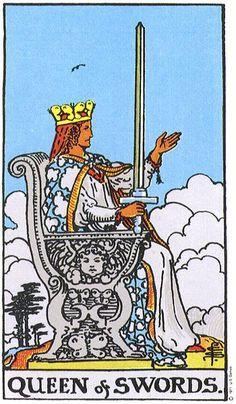 QUEEN OF SWORDS. The Original Rider Waite Tarot Card Deck, By Arthur Edward Waite & Pamela Colman Smith.