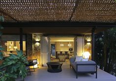 terrace roofing design furniture cushions cozy evening braid terrace garden