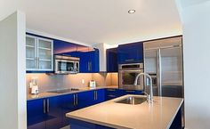 Electric blue kitchen! Stylish and contemporary.